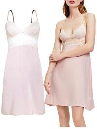IRREGULAR - Oysho PINK Blonde Lace Modal Strappy Chemise Nightdress - Size 10/12 to 12/14 (M-L)