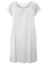 3VANS GREY Layered Short Sleeve Nightdress - Plus Size 14/16 to 30/32
