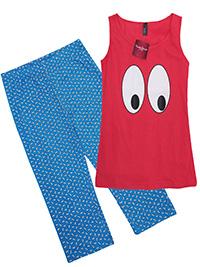 Camila Grimaldi RED Pure Cotton Eye Print Cropped Pyjama Set - Size 10 to 16 (S to XL)
