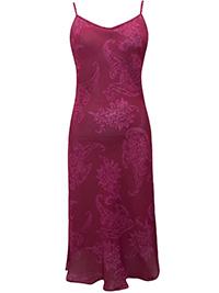 Victoria's Secret BERRY PAISLEY Chiffon Midi Lingerie Slip - Size Small to Large