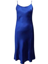Victoria's Secret Cobalt BLUE Washable Silk Cotton Blend Strapy Slip Dress - Size Small to Large