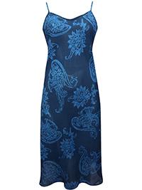 Victoria's Secret NAVY BLUE Printed Chiffon Midi Lingerie Slip - Size Small to Large