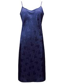 Victoria's Secret NAVY Luxurious Satin Jacquard Thin Strap Slip - Size Small to Large