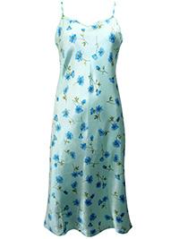 Victoria's Secret Aqua Floral Print Washable Silk Blend Slip Dress - Size Small to Large