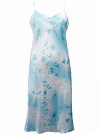 Victoria's Secret BLUE Floral Print Washable Silk Blend Slip Dress - Size Small to Large