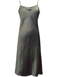 Victoria's Secret KHAKI Satin Charmeuse Thin Strap Slip Nightdress - Size Medium to Large