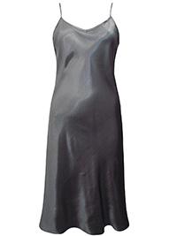 Victoria's Secret SILVER GREY Satin Charmeuse Thin Strap Slip Nightdress - Size Medium to Large