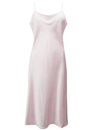 Victoria's Secret LIGHT PINK Satin SILK Blend Thin Strap Midi Slip - Size Small to Large