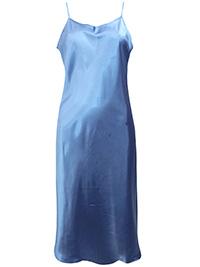 Victoria's Secret BLUE Satin Charmeuse Thin Strap Slip Nightdress - Size Large