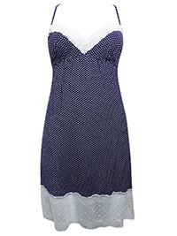 NAVY Polka Dot Lace Trim Short Chemise - Size 8 to 18