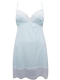 MINT Striped Lace Trim Short Chemise - Size 10 to 22