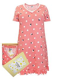 Italian Bisbigli ROSE Pure Cotton Printed Frill Hem Nightdress - Size 8 to 20 (EU 40 to 52)