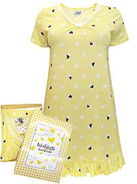 Italian Bisbigli YELLOW Pure Cotton Printed Frill Hem Nightdress - Size 8 to 18 (EU 40 to 50)