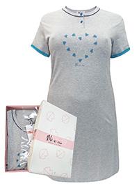 Italian Mi-a-mi GREY Pure Cotton Heart Print Nightdress - Size 10 to 22 (EU 42 to 54)