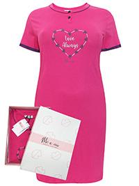 Italian Mi-a-mi FUCHSIA Pure Cotton Heart Print Nightdress - Size 10 to 20 (EU 42 to 52)