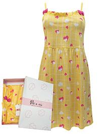 Italian Mi-a-mi YELLOW Pure Cotton Heart Print Frill Trim Chemise - Size 10 to 20 (EU 42 to 52)