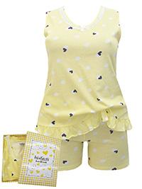 Italian Bisbigli YELLOW Pure Cotton Heart Print Shorts Pyjama Set - Size 8 to 20 (EU 40 to 52)