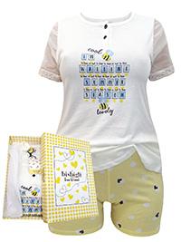 Italian Bisbigli IVORY Pure Cotton Bee Print Henley Neck Mesh Sleeve Shortie Pyjama Set - Size 8 to 20 (EU 40 to 52)