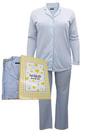 Italian Bisbigli BLUE Cotton Rich Henley Neck Striped Pyjama Set - Size 10 to 20 (EU 42 to 52)