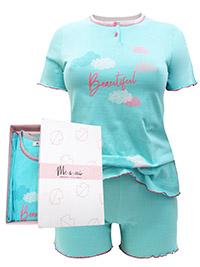 Italian Mi-a-mi AQUA Pure Cotton Henley Neck Shortie Pyjama Set - Size 10 to 20 (EU 42 to 52)