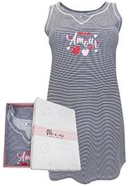 Italian Mi-a-mi NAVY Pure Cotton Striped Nightdress - Size 10 to 20