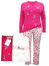 Italian Mi-a-mi FUCHSIA Pure Cotton Long Sleeve Lip Print Pyjama Set - Size 10 to 22