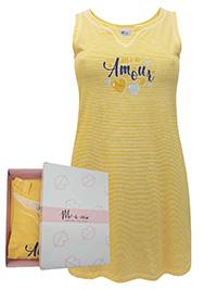 Italian Mi-a-mi YELLOW Pure Cotton Striped Nightdress - Size 10 to 20