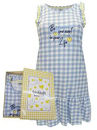 Italian Bisbigli BLUE Pure Cotton Gingham Frill Trim Nightdress - Size 8 to 18