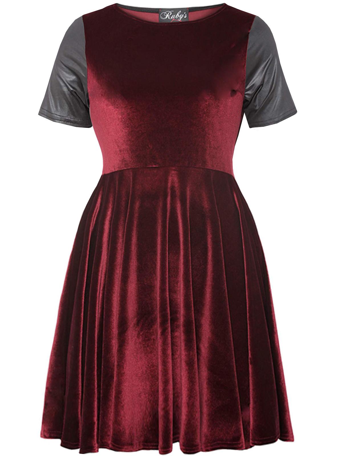 ca0ddd9d87b2 Ruby s Closet - - Ruby s Closet Burgundy Velvet Short Sleeve Skater Float  Dress - Size 16 to 22