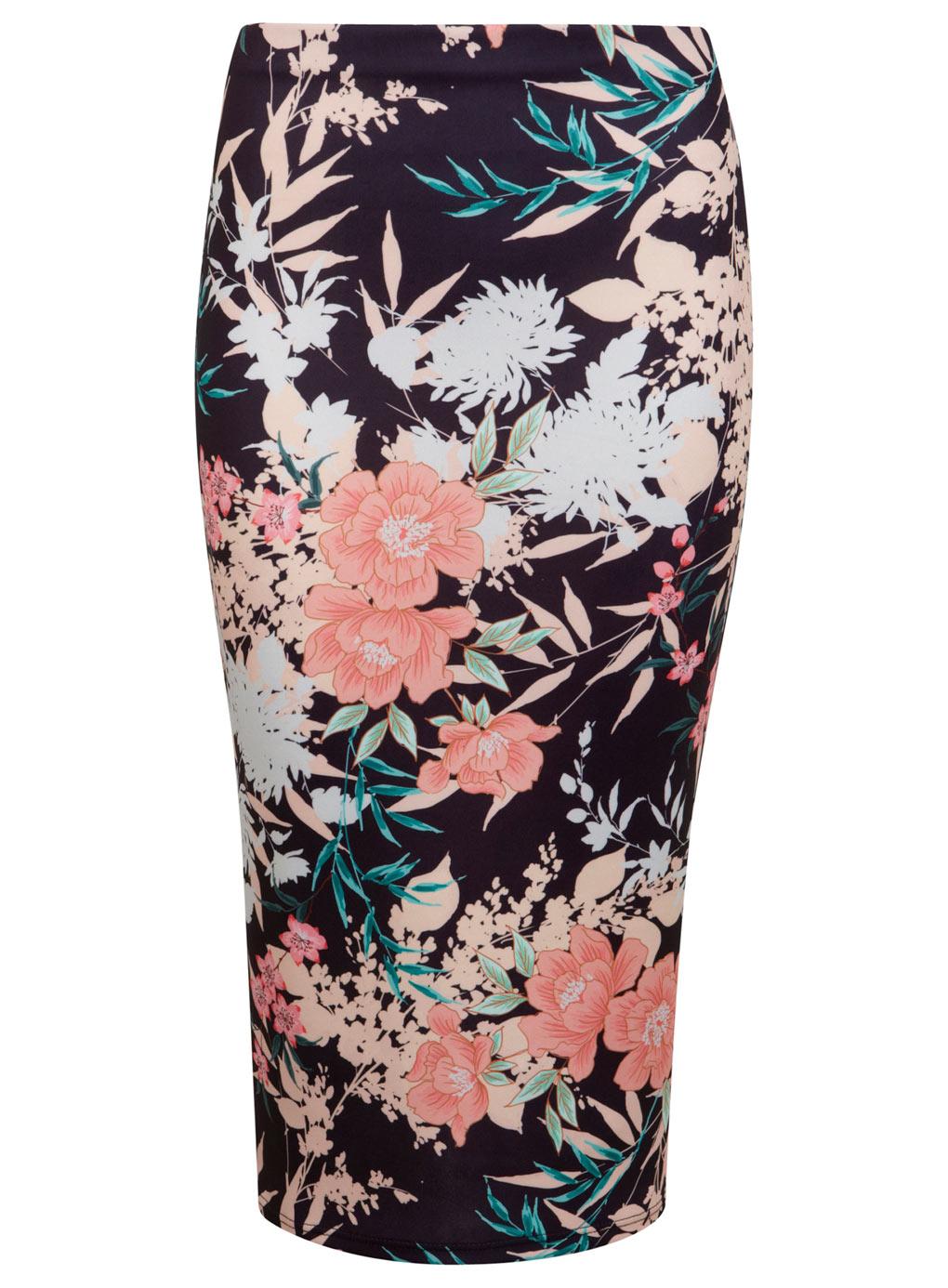 M1ss S3lfridge NAVY Oriental Floral Midi Skirt - Size 6 to 16