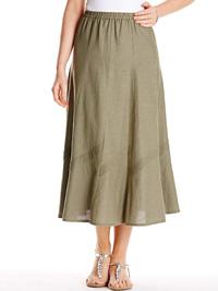 Anthology KHAKI A-Line Linen Blend Pintuck Trim Panel Skirt - Size 10 to 32