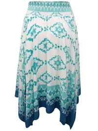 Denim 24/7 GREEN Smocked Waist Hanky Hem Skirt - Plus Size 14 to 30