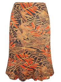 Avenue ORANGE Pull On Leaf Print Skirt - Plus Size 14/16 to 30/32
