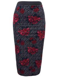 BLACK Spot & Floral Print Jersey Midi Wiggle Skirt - Size 8 to 16