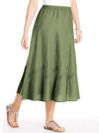 Anthology GREEN A-Line Linen Blend Pintuck Trim Panel Skirt - Size 10 to 32