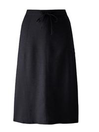 Capsule BLACK Linen Blend Pull On Skirt - Plus Size 12 to 32