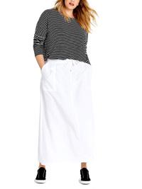 Capsule WHITE Linen Blend Pull On Skirt - Size 16 to 32