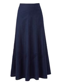 Julipa NAVY Linen Blend Pull On Pintuck Skirt - Size 10 to 28