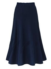 Anthology NAVY A-Line Linen Blend Pintuck Trim Panel Skirt - Size 10 to 32