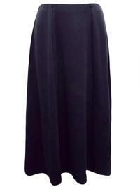BLACK Panelled Midi Skirt - Size 10 to 12