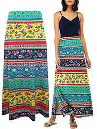 M0NSOON YELLOW Niquita Multi Print Maxi Skirt - Size Small to XLarge