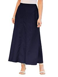 Julipa NAVY Linen Blend Pull On Skirt - Plus Size 12 to 30
