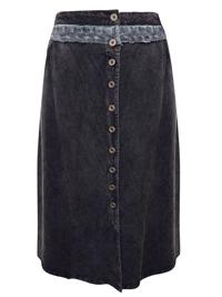eaonplus BLACK Button Through Royal Lace Waist Skirt - Plus Size 18/20 to 30/32