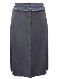 eaonplus GREY Button Through Royal Lace Waist Skirt - Plus Size 18/20 to 30/32