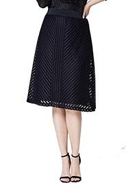 Anthology BLACK Mesh Stripe Skirt - Plus Size 24