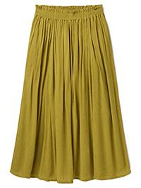 WH1TE STUFF KHAKI-GREEN Sorrel Crinkle Flared Midi Skirt - Size 12 to 20
