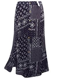 3vans BLACK Printed BoHo Tiered Maxi Skirt - Plus Size 14 to 32