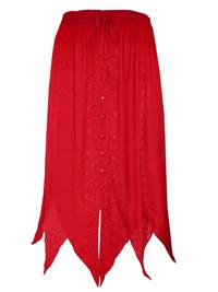 eaonplus DARK RED Renaissance Gothic Zigzag Skirt - Plus Size 18 to 36