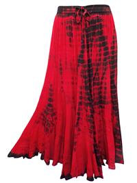eaonplus RED/BLACK Scalloped Renaissance Tie Dye Maxi Skirt - Plus Size 14/16 to 34/36
