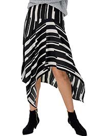 Ellos BLACK/WHITE Nancy Chiffon Mono Stripe Hanky Skirt - Size 8 to 26 (EU 34 to 52)